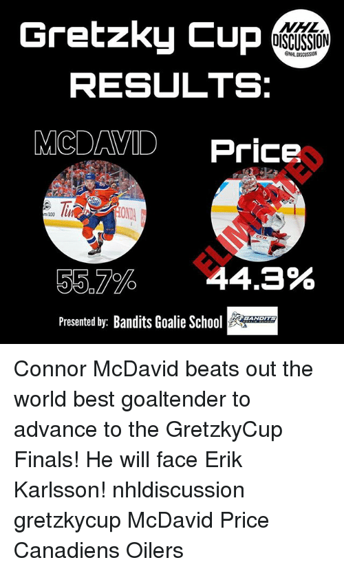 oilers: Gretzky Cup  DISCUSSION  ONHL DISCUSSION  RESULTS:  MCDAVID Price  OND  m/100  55.7%  44.3%  Presented by: Bandits Goalie H  EANDITS Connor McDavid beats out the world best goaltender to advance to the GretzkyCup Finals! He will face Erik Karlsson! nhldiscussion gretzkycup McDavid Price Canadiens Oilers