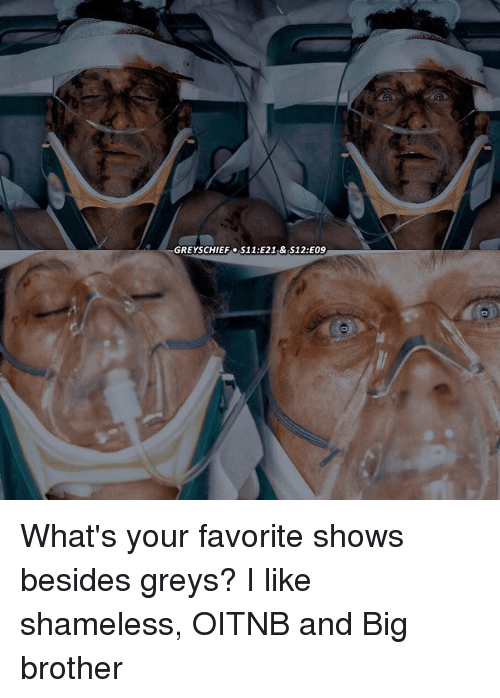 Memes, Shameless, and Big Brother: GREYSCHIEF S11:E21 & S12:EO9 What's your favorite shows besides greys? I like shameless, OITNB and Big brother