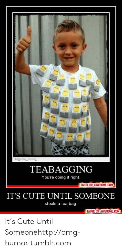 Youre Doing It Right: GRGFUL.COm  TEABAGGING  You're doing it right.  TASTE OF AWESOME.COM  IT'S CUTE UNTIL SOMEONE  steals a tea bag.  TASTE OF AWESOME.COM It's Cute Until Someonehttp://omg-humor.tumblr.com