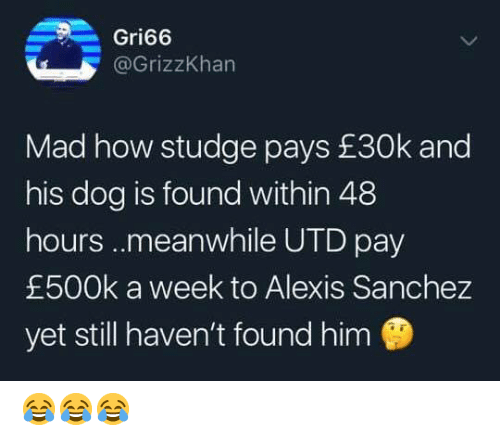 Alexis Sanchez: Gri66  @GrizzKhan  Mad how studge pays £30k and  his dog is found within 48  hours..meanwhile UTD pay  £500k a week to Alexis Sanchez  yet still haven't found him 😂😂😂