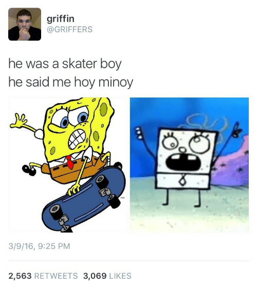Hoy Minoy: griffin  @GRIFFERS  he was a skater boy  he said me hoy minoy  3  3/9/16, 9:25 PM  2,563 RETWEETS 3,069 LIKES