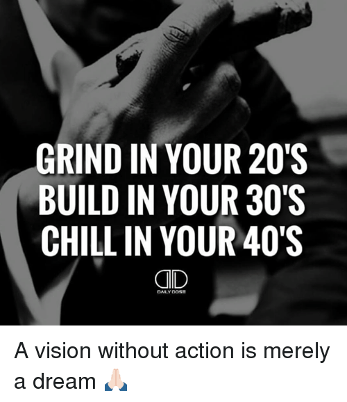 Ruh: GRIND IN YOUR 20S  BUILD IN YOUR 30'S  CHILL IN YOUR 40'S  DAILY DOSE  SSS  000  234  RRR  000D  YYYa  NNN  DDL  NIL L  RUH  GBC A vision without action is merely a dream 🙏🏻