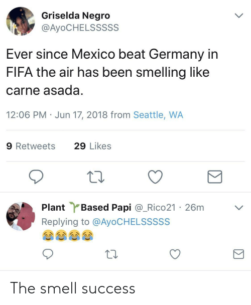 carne asada: Griselda Negro  @AyoCHELSSSSS  Ever since Mexico beat Germany in  FIFA the air has been smelling like  carne asada  12:06 PM Jun 17, 2018 from Seattle, WA  9 Retweets  29 Likes  Plant Based Papi @.Rico21 ·26m  Replying to @AyoCHELSSSSS  ﹀ The smell success