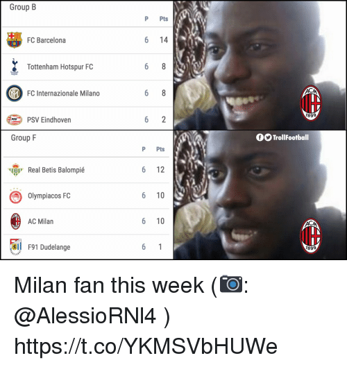 Milano: Group B  P Pts  FC Barcelona  6 14  Tottenham Hotspur FC  FC Internazionale Milano  IH  189  PSV Eindhoven  Group F  OO TrollFootball  P Pts  ч  Real Betis Balompié  6 12  Olympiacos FC  6 10  AC Milan  6 10  l F91 Dudelange  899 Milan fan this week (📷: @AlessioRNl4 ) https://t.co/YKMSVbHUWe