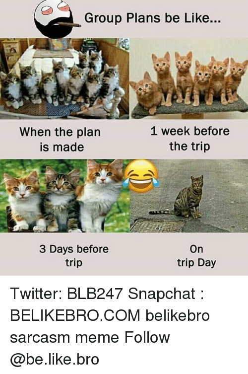 Be Like, Meme, and Memes: Group Plans be Like...  When the plan  is made  1 week before  the trip  3 Days before  trip  On  trip Day Twitter: BLB247 Snapchat : BELIKEBRO.COM belikebro sarcasm meme Follow @be.like.bro
