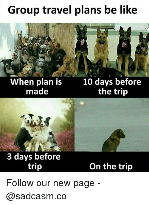 Be Like, Memes, and Travel: Group travel plans be like  When plan is10 days before  made  the trip  3 days before  trip  On the trijp Follow our new page - @sadcasm.co