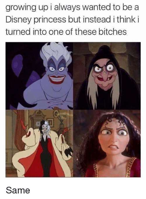 Dank, Disney, and 🤖: growing up i always wanted to be a  Disney princess but instead ithink i  turned into one of these bitches Same