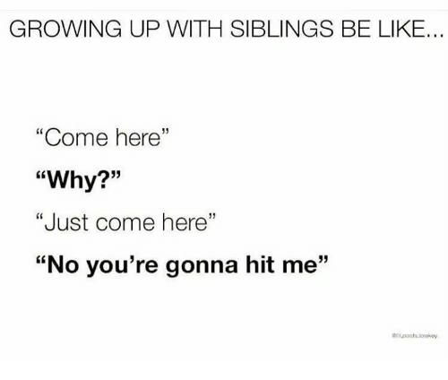 """Growing Up With Siblings: GROWING UP WITH SIBLINGS BE LIKE...  """"Come here  """"Why?""""  """"Just come here""""  """"No you're gonna hit me""""  13  itposts.lowsey"""