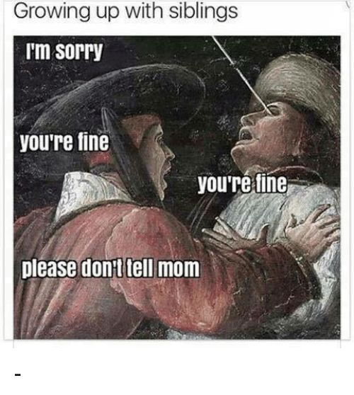 Growing Up, Memes, and Sorry: Growing up with siblings  I'm Sorry  you're fine  you're fine  please dont tell mom -