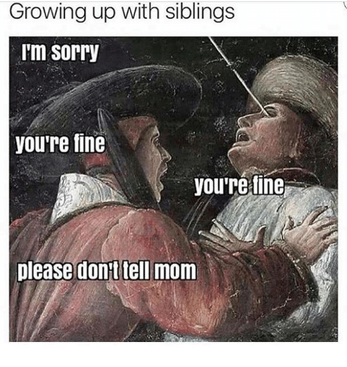 Mom, Fine, and Telled: Growing up with siblings  I'm Sorry  you're fine  you're fine  please don't tell mom