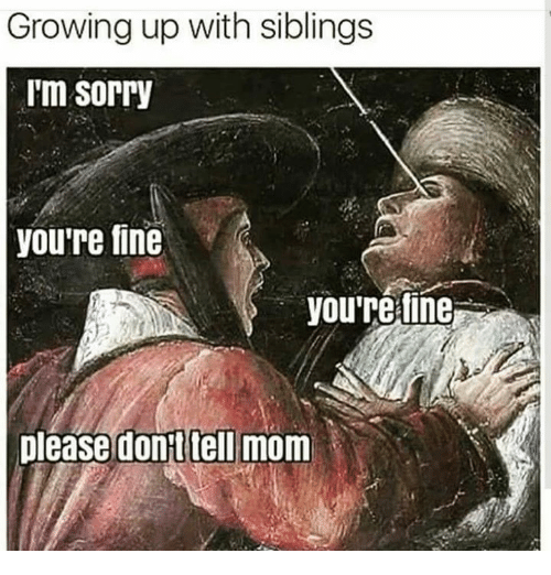 Growing Up With Siblings: Growing up with siblings  i'm sorry  youre fine  you're tine  please dont tell mom