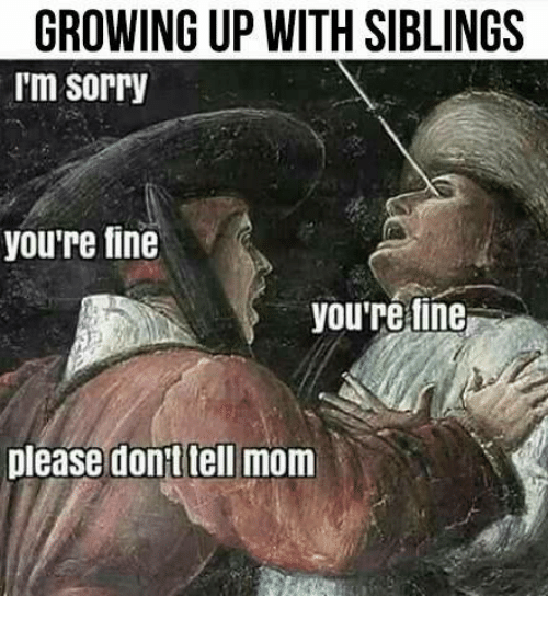 Growing Up With Siblings: GROWING UP WITH SIBLINGS  I'm sorry  youre fine  yourefine  Dlease donttell mom