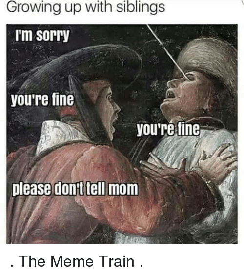 Growing Up With Siblings: Growing up with siblings  'm sorry  youre fine  youre fine  please don't tell mom . The Meme Train .
