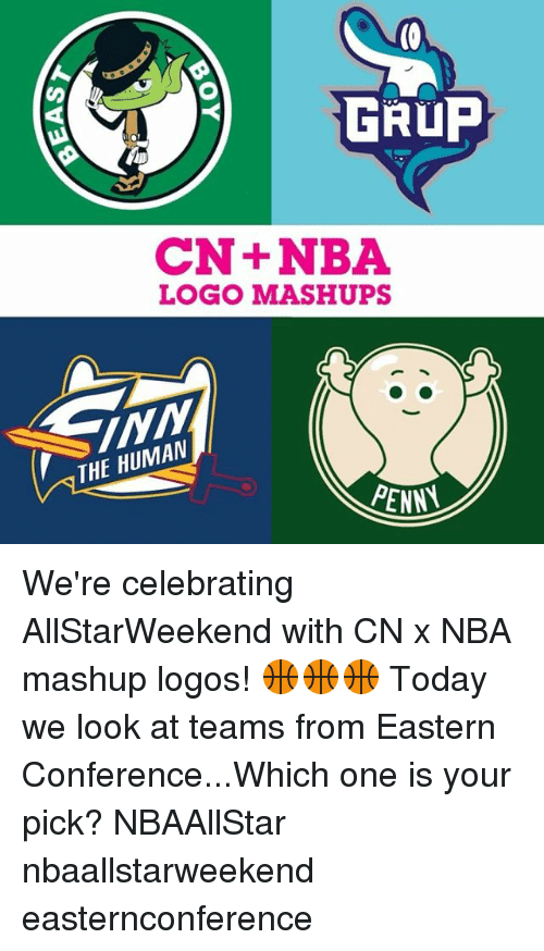 nba logo: GRUP  CN+NBA  LOGO MASHUPS  THE HUMAN  PENNA We're celebrating AllStarWeekend with CN x NBA mashup logos! 🏀🏀🏀 Today we look at teams from Eastern Conference...Which one is your pick? NBAAllStar nbaallstarweekend easternconference