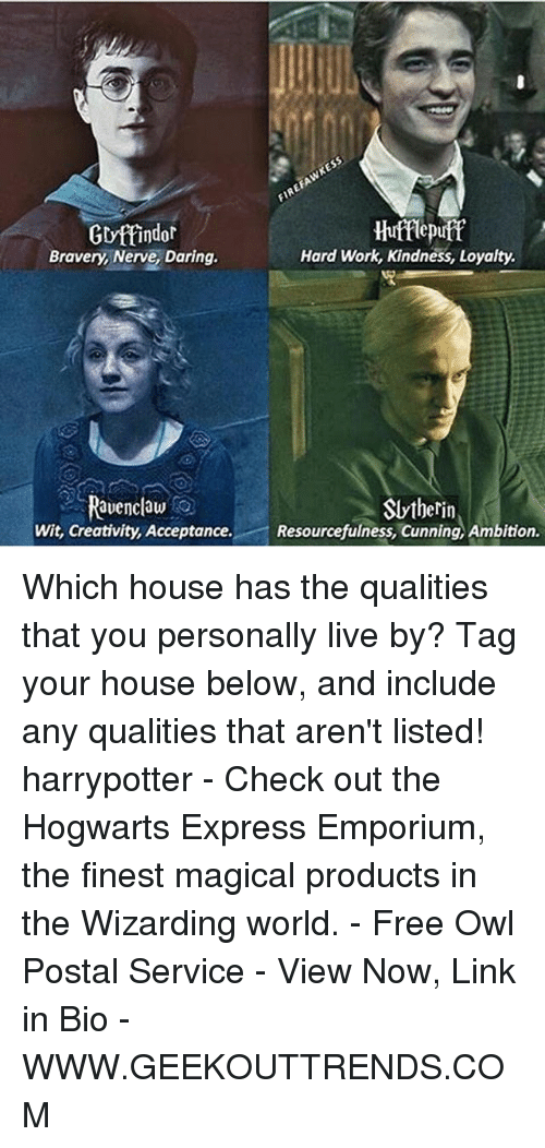 Kindness: Gryttindor  Hufflepuff  Hard Work, Kindness, Loyalty.  Bravery, Nerve, Daring.  Ravenclaw  Slytherin  Wit, Creativity, Acceptance  Resourcefulness, Cunning, Ambition. Which house has the qualities that you personally live by? Tag your house below, and include any qualities that aren't listed! harrypotter - Check out the Hogwarts Express Emporium, the finest magical products in the Wizarding world. - Free Owl Postal Service - View Now, Link in Bio - WWW.GEEKOUTTRENDS.COM