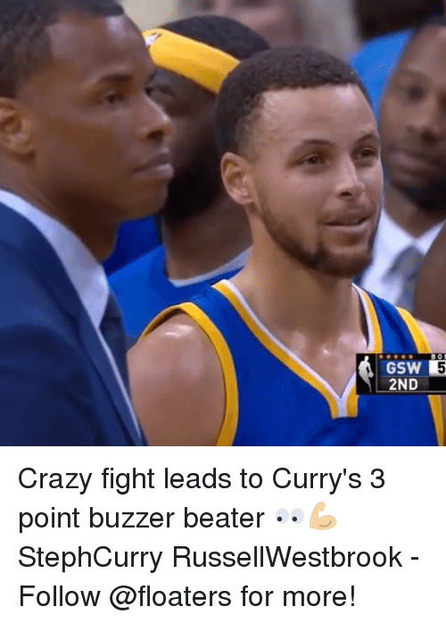 buzzer beater: GSW 5  2ND- Crazy fight leads to Curry's 3 point buzzer beater 👀💪🏼 StephCurry RussellWestbrook - Follow @floaters for more!