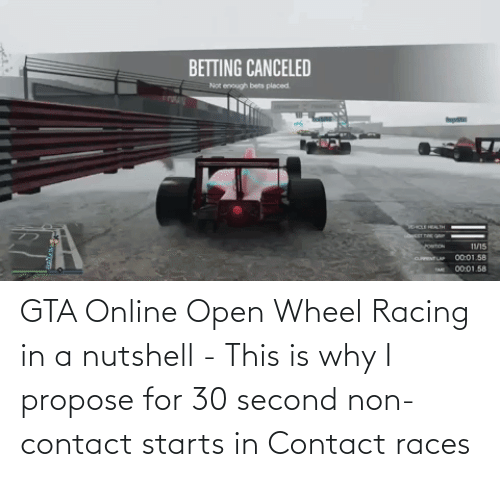 propose: GTA Online Open Wheel Racing in a nutshell - This is why I propose for 30 second non-contact starts in Contact races