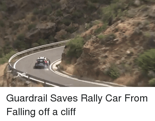 rally car: Guardrail Saves Rally Car From Falling off a cliff