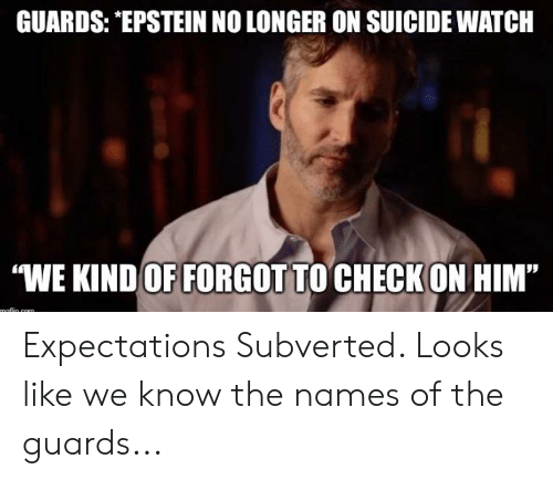 """On Suicide Watch: GUARDS: EPSTEIN NO LONGER ON SUICIDE WATCH  WE KIND OF FORGOT TO CHECK ON HIM""""  maflin com Expectations Subverted. Looks like we know the names of the guards..."""