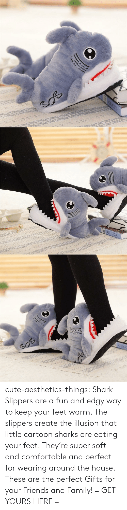slippers: GUCCI cute-aesthetics-things: Shark Slippers are a fun and edgy way to keep your feet warm. The slippers create the illusion that little cartoon sharks are eating your feet. They're super soft and comfortable and perfect for wearing around the house. These are the perfect Gifts for your Friends and Family! = GET YOURS HERE =