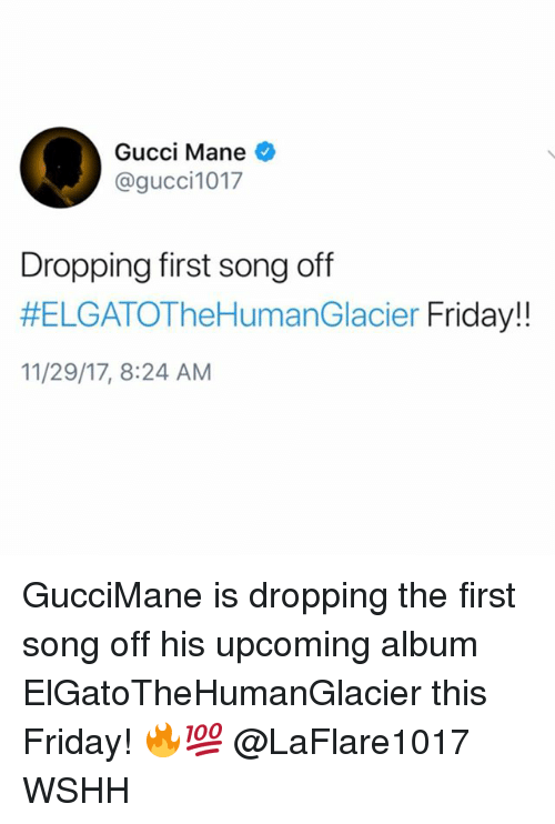 Friday, Gucci, and Gucci Mane: Gucci Mane  @gucci1017  Dropping first song off  #ELGATOTheHumanGlacier Friday!!  11/29/17, 8:24 AM GucciMane is dropping the first song off his upcoming album ElGatoTheHumanGlacier this Friday! 🔥💯 @LaFlare1017 WSHH