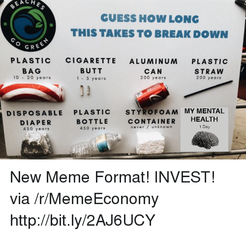 plastic bag: GUESS HOW LONG  THIS TAKES TO BREAK DOWN  GREE  PLASTIC CIGARETTE ALUMINUM PLASTIC  BAG  10 20 years  BUTT  1-5 years  CAN  200 years  STRAW  200 years  DISPOSABLE PLASTIC STYROFOAM MY MENTAL  DIAPER  450 years  BOTTLE  450 years  CONTAINER HEALTH  never/ unknown  1 Day New Meme Format! INVEST! via /r/MemeEconomy http://bit.ly/2AJ6UCY