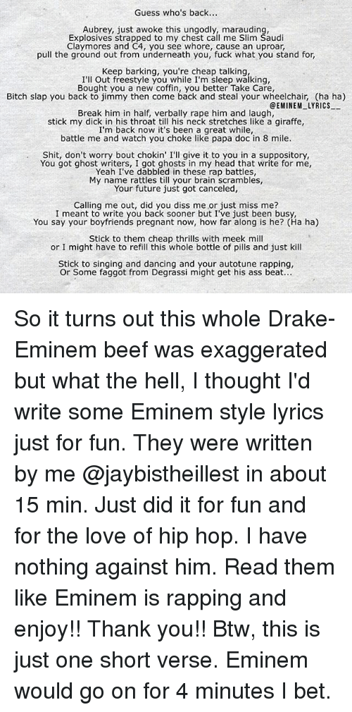 Lyric rapping lyrics : 🔥 25+ Best Memes About Eminem Lyrics, Rap, Drake, and Love ...