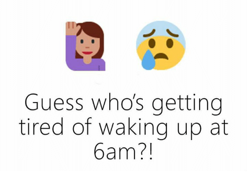Guess: Guess who's getting  tired of waking up at  bam?
