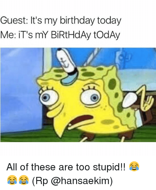 Birthday, Memes, and Today: Guest: It's my birthday today  Me: iT's mY BiRtHdAy todAy All of these are too stupid!! 😂😂😂 (Rp @hansaekim)
