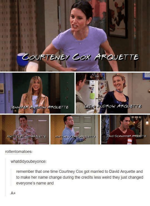 David Arquette: GUETTE  DROW ARGO  ONARQUETTE  rottentomatoes  whatdidyoubeyonce:  remember that one time Courtney Cox got married to David Arquette and  to make her name change during the credits less weird they just changed  everyone's name and  A+