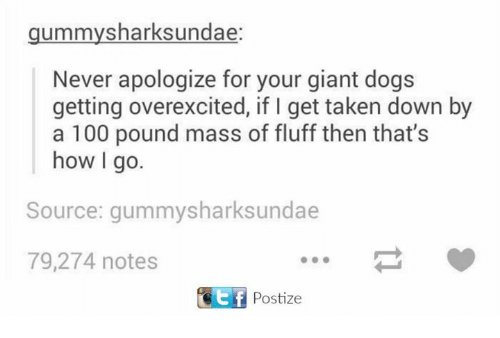 Anaconda, Dogs, and Taken: gummy sharksundae:  Never apologize for your giant dogs  getting overexcited, if l get taken down by  a 100 pound mass of fluff then that's  how I go.  Source: gummysharksundae  79,274 notes  Ef Postize