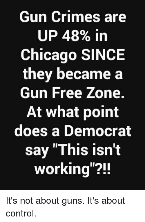 "Chicago, Guns, and Memes: Gun Crimes are  UP 48% in  Chicago SINCE  they became a  Gun Free Zone.  At what point  does a Democrat  say ""This isn't  working""?! It's not about guns. It's about control."