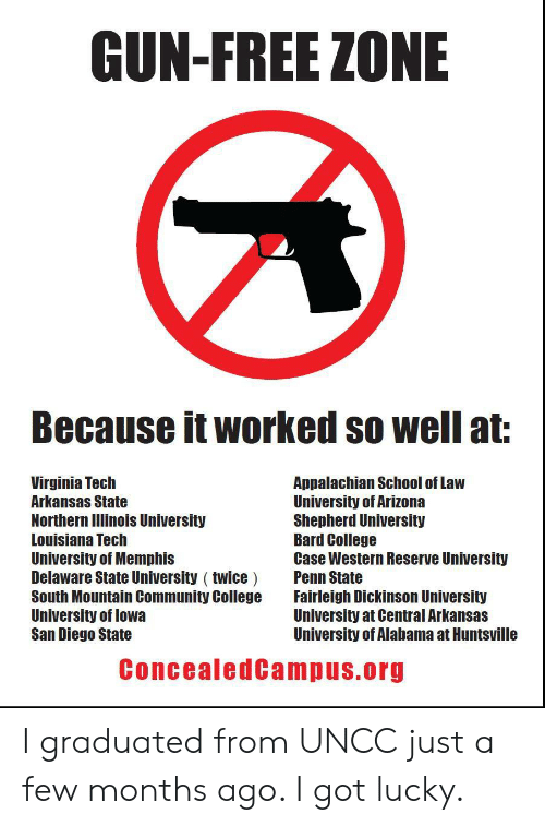 University of Alabama: GUN-FREE ZONE  Because it worked so well at  Virginia Tech  Arkansas State  Northern Ilinois University  Louisiana Tech  University of Memphis  Delaware State University ( twice Penn State  South Mountain Community College Fairleigh Dickinson University  University of lowa  San Diego State  Appalachian School of Law  University of Arizona  Shepherd University  Bard College  Case Western Reserve University  University at Central Arkansas  University of Alabama at Huntsville  ConcealedCampus.org I graduated from UNCC just a few months ago. I got lucky.