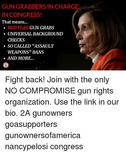 """red flag: GUN GRABBERS IN CHARGE  N CONGRESS!  That means...  RED FLAG  UNIVERSAL BACKGROUND  CHECKS  GUN GRABS  ·SO CALLED """"ASSAULT  WEAPONS"""" BANS  AND MORE... Fight back! Join with the only NO COMPROMISE gun rights organization. Use the link in our bio. 2A gunowners goasupporters gunownersofamerica nancypelosi congress"""