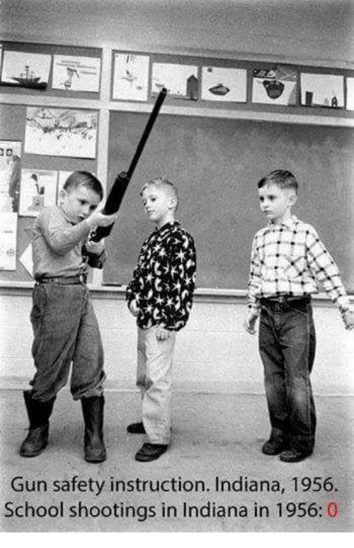 Memes, 🤖, and Gun: Gun safety instruction. Indiana, 1956.  School shootings in Indiana in 1956  0