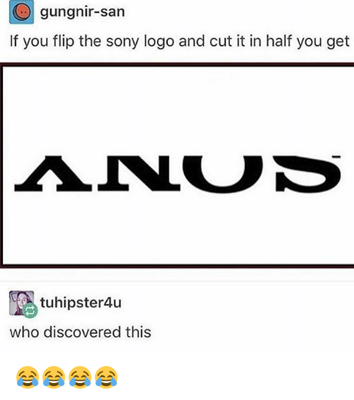 Sony, Girl Memes, and Logo: gung nir-san  If you flip the sony logo and cut it in half you get  tuhipster4u  who discovered this 😂😂😂😂
