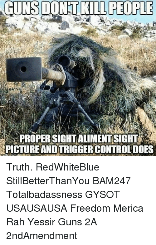 Guns Dont Kill People: GUNS DONT KILL PEOPLE  PROPER SIGHT ALIMENTISIGHT  PICTUREANDTRIGGER CONTROLDOES Truth. RedWhiteBlue StillBetterThanYou BAM247 Totalbadassness GYSOT USAUSAUSA Freedom Merica Rah Yessir Guns 2A 2ndAmendment