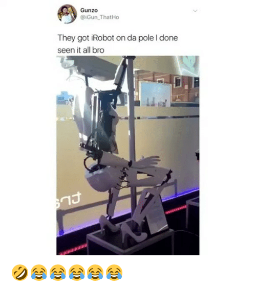 irobot: Gunzo  @iGun ThatHo  They got iRobot on da pole I done  seen it all bro  ㄇ 🤣😂😂😂😂😂