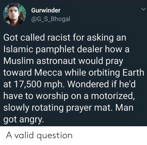 worship: Gurwinder  @G_S_Bhogal  Got called racist for asking an  Islamic pamphlet dealer how a  Muslim astronaut would pray  toward Mecca while orbiting Earth  at 17,500 mph. Wondered if he'd  have to worship on a motorized,  slowly rotating prayer mat. Man  got angry. A valid question