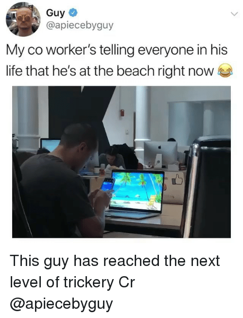 Life, Memes, and Beach: Guy  @apiecebyguy  My co worker's telling everyone in his  life that he's at the beach right now This guy has reached the next level of trickery Cr @apiecebyguy