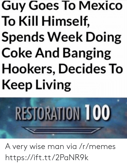 Wise Man: Guy Goes To Mexico  To Kill Himself,  Spends Week Doing  Coke And Banging  Hookers, Decides To  Keep Living  RESTORATION 100 A very wise man via /r/memes https://ift.tt/2PaNR9k