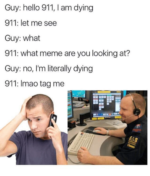 What Memes: Guy: hello 911, I am dying  911: let me see  Guy: what  911: what meme are you looking at?  Guy: no, I'm literally dying  911: Imao tag me