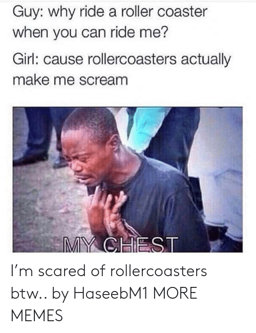 roller coaster: Guy: why ride a roller coaster  when you can ride me?  Girl: cause rollercoasters actually  make me scream  MY CHEST I'm scared of rollercoasters btw.. by HaseebM1 MORE MEMES