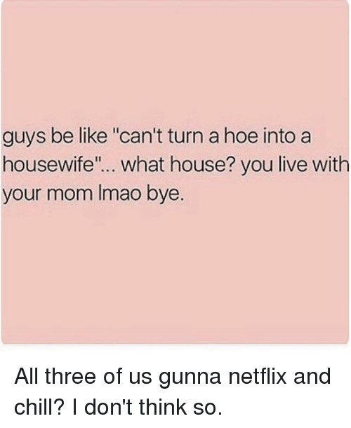 """guys be like: guys be like """"can't turn a hoe into a  housewife  what house? you live with  your mom lmao bye. All three of us gunna netflix and chill? I don't think so."""