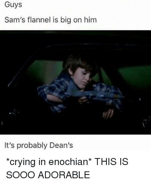 Crying, Memes, and Adorable: Guys  Sam's flannel is big on him  It's probably Dean's *crying in enochian* THIS IS SOOO ADORABLE