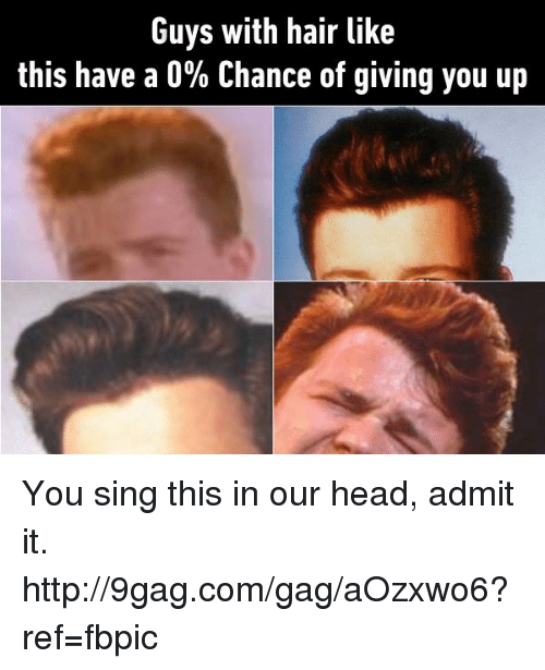 Dank, 🤖, and Ref: Guys with hair like  this have a 0% Chance of giving you up You sing this in our head, admit it. http://9gag.com/gag/aOzxwo6?ref=fbpic