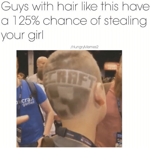 Hungry Meme: Guys with hair like this have  a 125% chance of stealing  your girl  Hungry Memes 2  gam