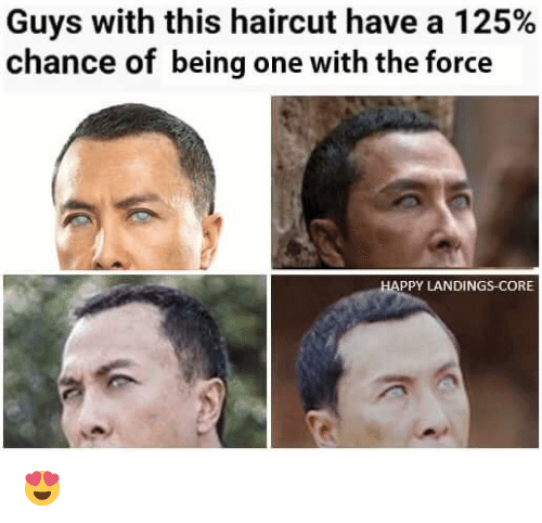 Haircut, Memes, and Haircuts: Guys with this haircut have a 125%  chance of being one with the force  PPY LANDINGS-CORE 😍