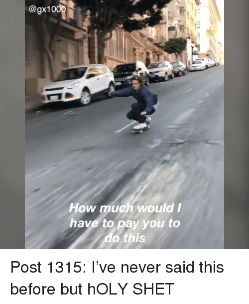 Memes, Never, and 🤖: @gx10  How much wouldI  have to pay you to  o this Post 1315: I've never said this before but hOLY SHET