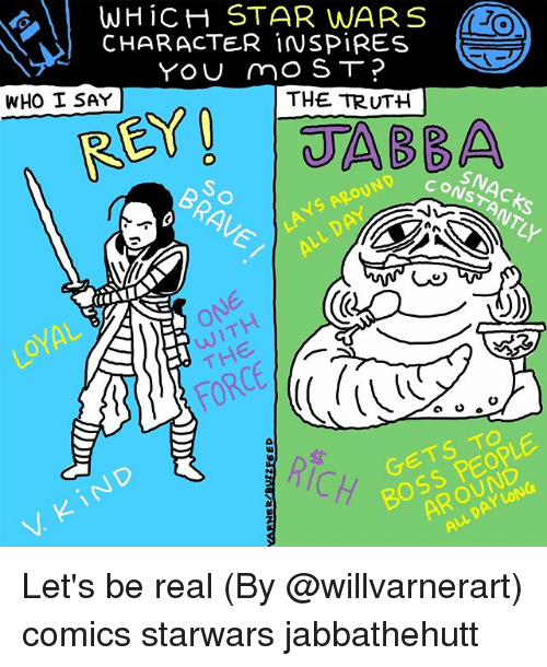 Memes, Star Wars, and Star: gy  | WHiCH STAR WARS  CHARACTER iNSPIRES  e  THE TRUTH  WHO I SAY  SN  O)  RICH  Y- Let's be real (By @willvarnerart) comics starwars jabbathehutt